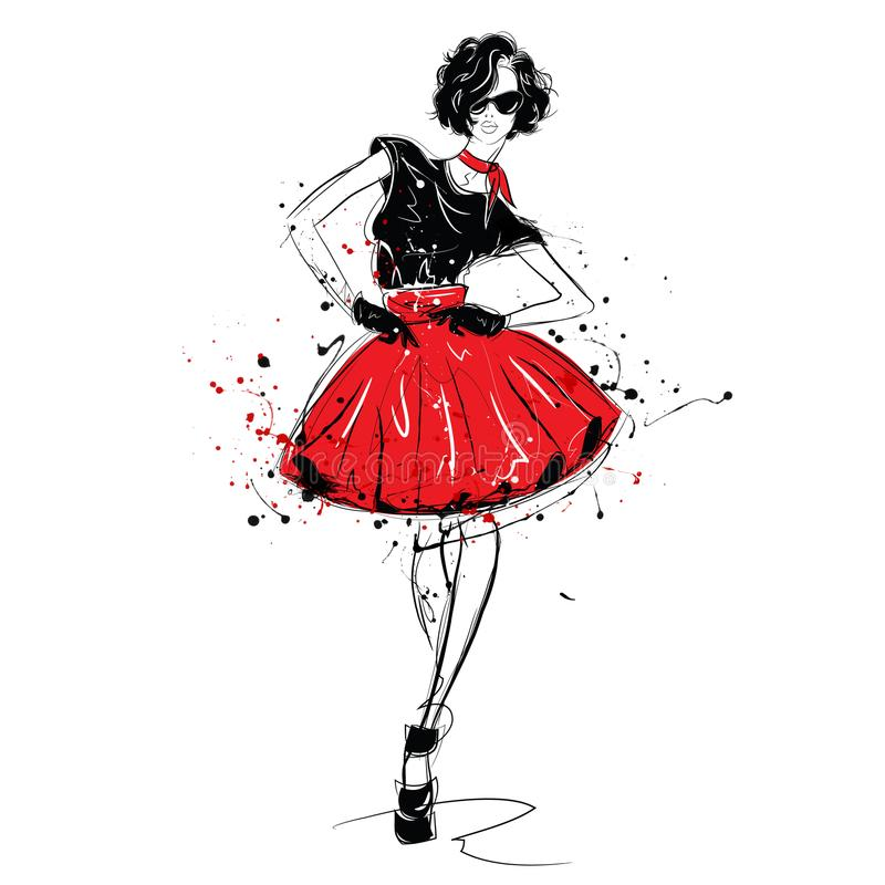 Fashion girl in sketch-style. Fashion woman portrait. Grunge illustration royalty free stock images