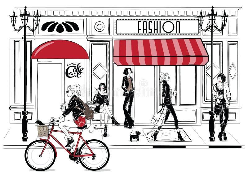 Fashion girl in sketch-style. Fashion woman portrait. vector illustration