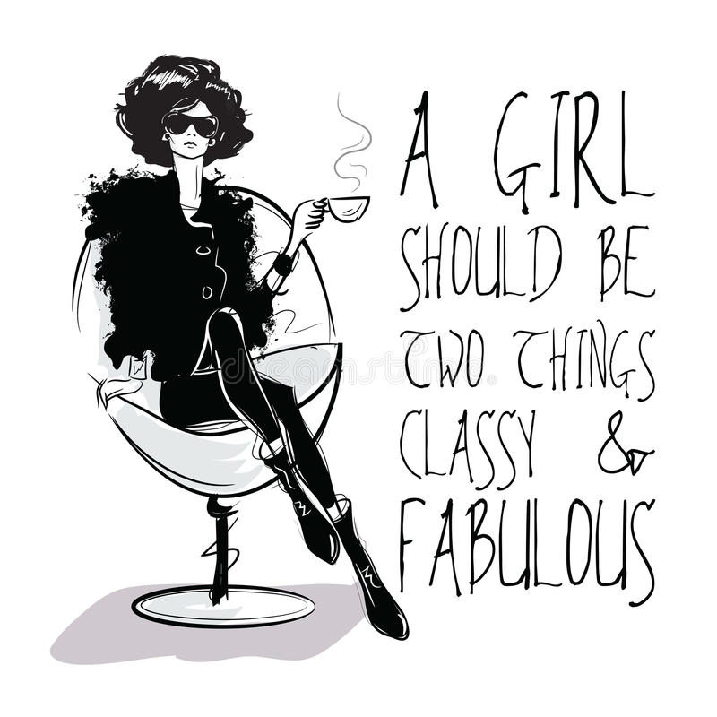 Fashion girl in sketch-style with fashionable quote. stock illustration
