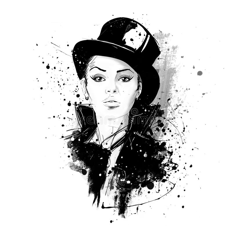 Fashion girl in sketch-style. Retro poster. Grunge illustration