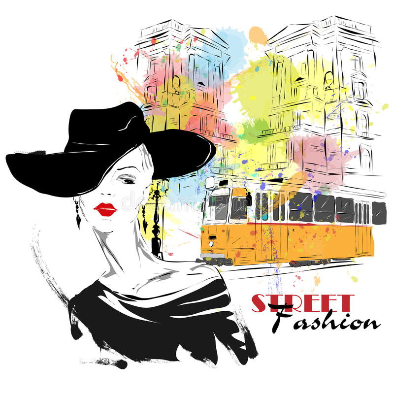 Fashion girl in sketch-style stock illustration