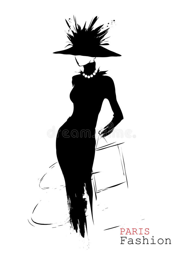 Fashion girl in sketch-style royalty free illustration