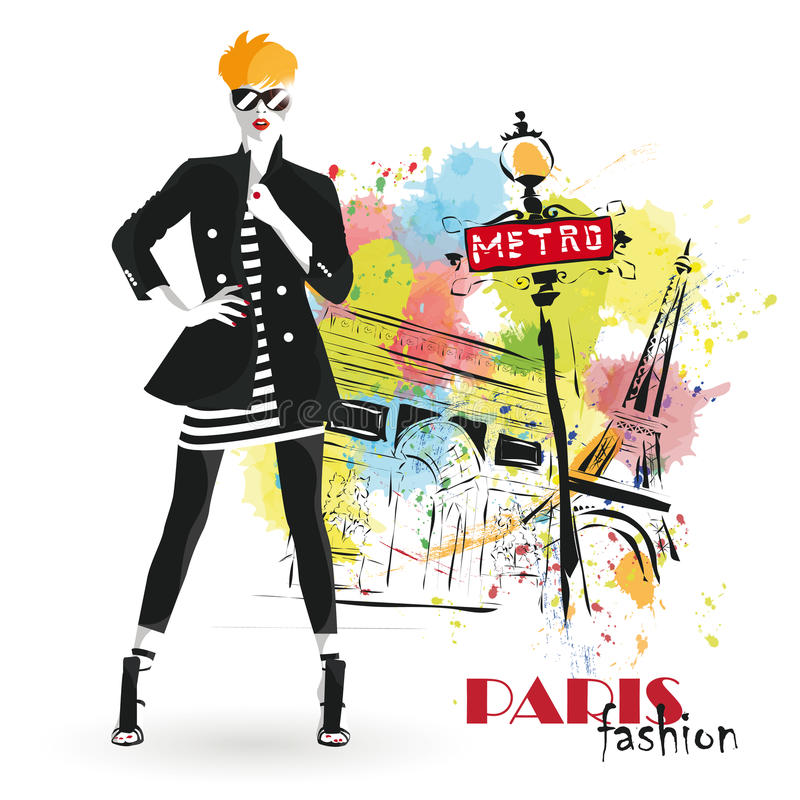 Fashion girl in sketch-style. Vector illustration royalty free illustration