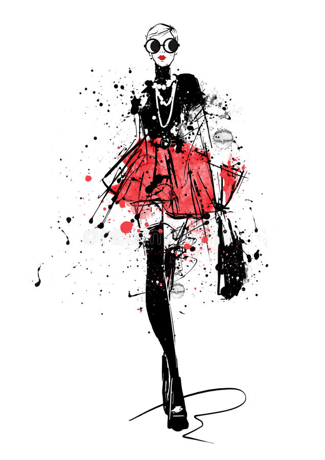 Fashion girl in sketch-style. stock illustration