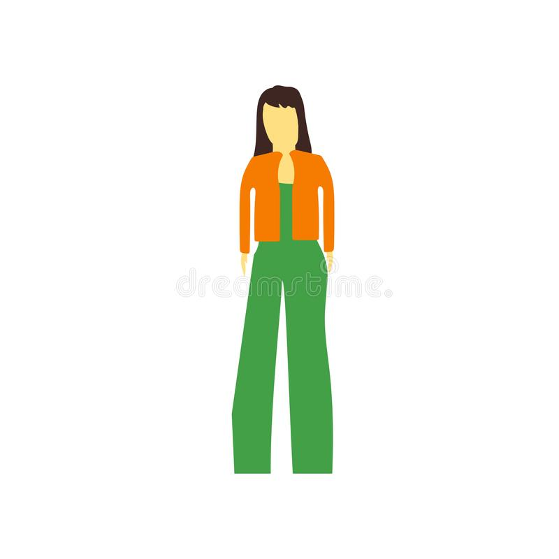 Fashion girl standing vector vector sign and symbol isolated on white background, Fashion girl standing vector logo concept royalty free illustration