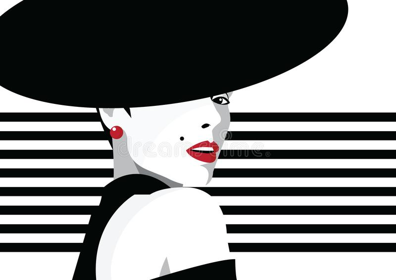 Fashion girl in style pop art. Fashion girl in style pop art on abstract background stock illustration