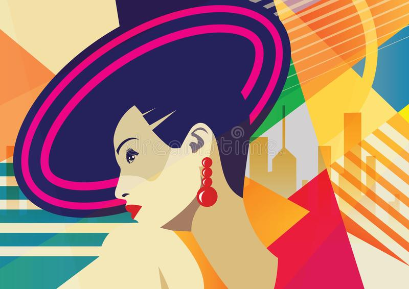 Fashion girl in style pop art. On abstract background vector illustration