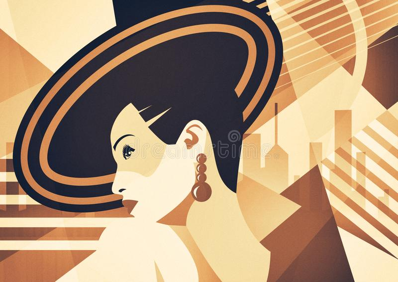 Fashion girl in style pop art. On abstract background royalty free illustration