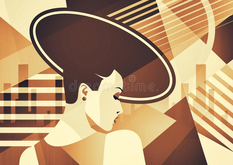 Fashion girl in style pop art. On abstract background stock illustration