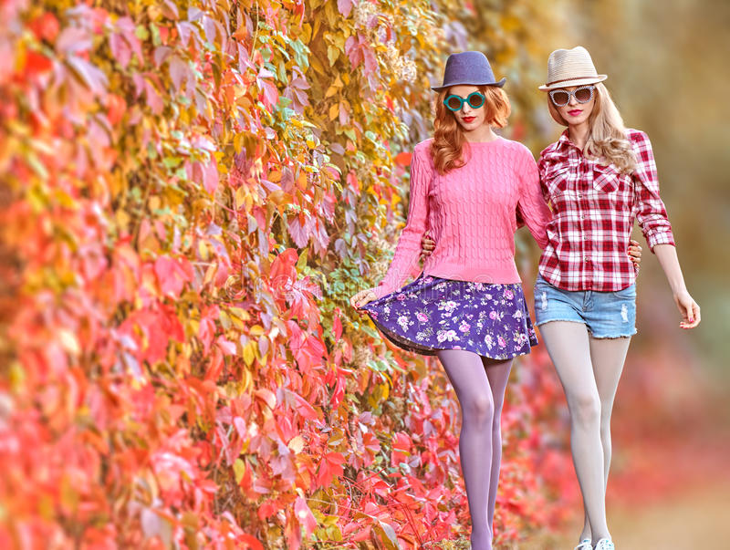 Fashion Girl, Stylish Autumn Outfit.Nature Outdoor royalty free stock image