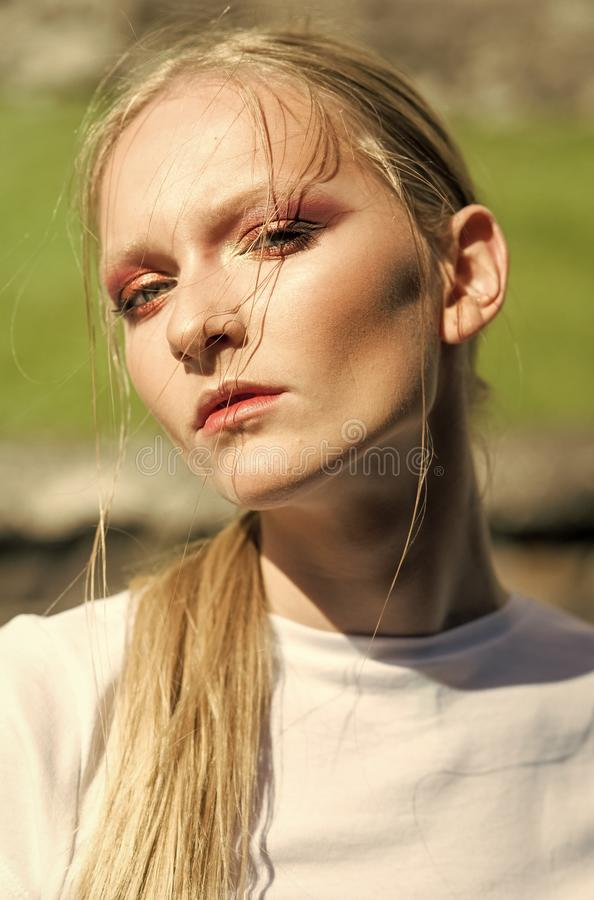 Fashion girl, trend, style. Woman with young skin on face, skincare, youth. Beauty model with glamour look, visage stock photography