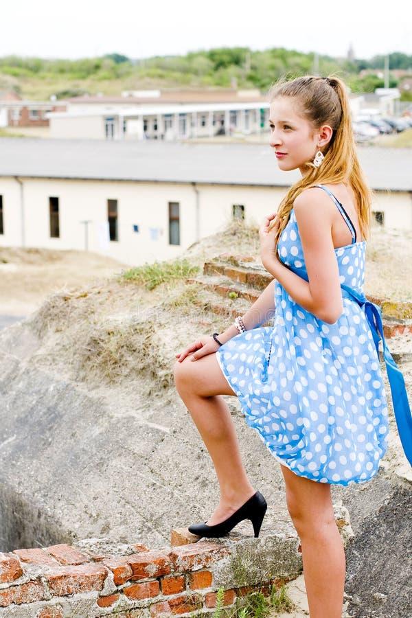 Download Fashion Girl Urbex Location Blue Polka Dress Stock Image - Image: 16887577