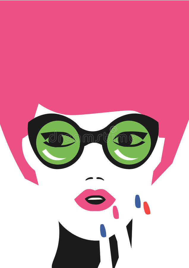 Fashion girl vector art in minimalistic hipster style. Eps 10 on layers.  royalty free illustration