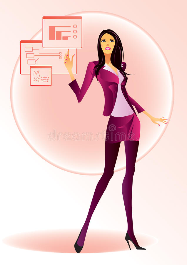 Fashion girl with virtual display stock illustration