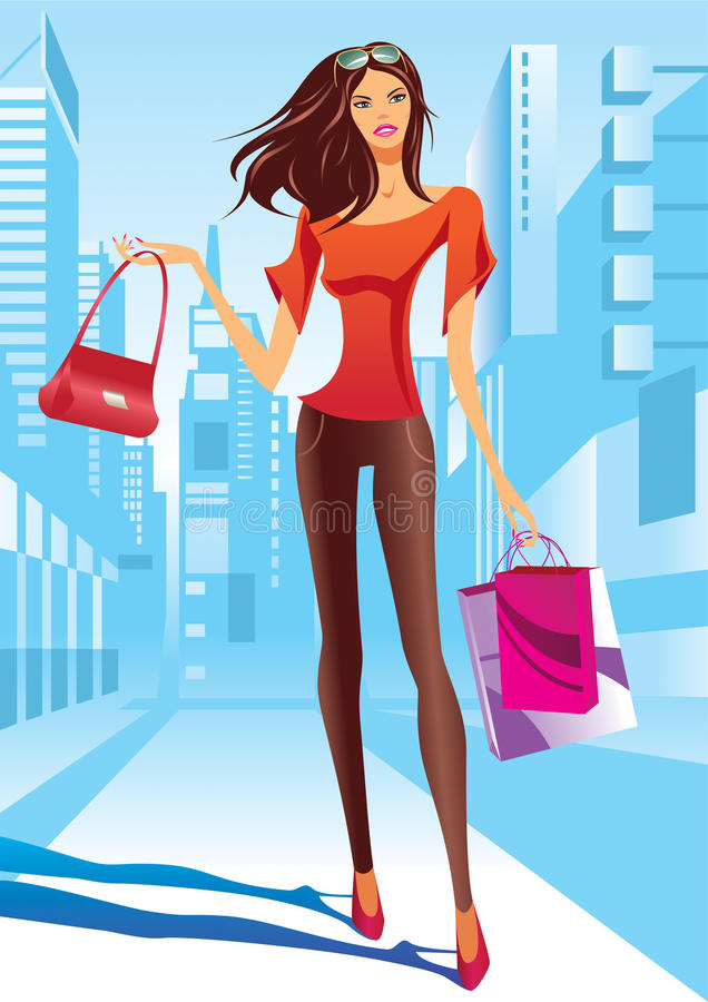 Download Fashion Girl Is Walking On A Street Stock Vector - Image: 24462176