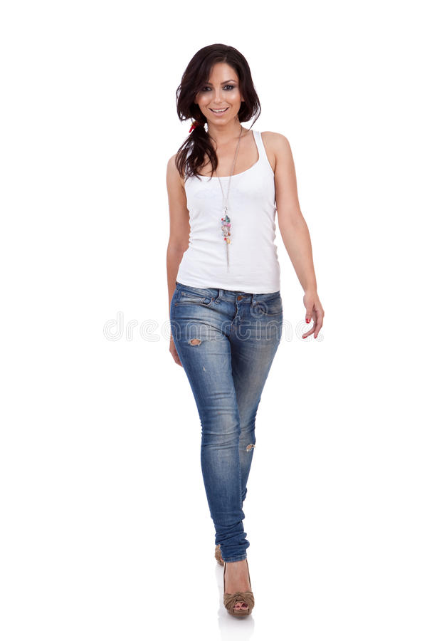 Download Fashion Girl Walking In Studio Stock Photo - Image: 20186922