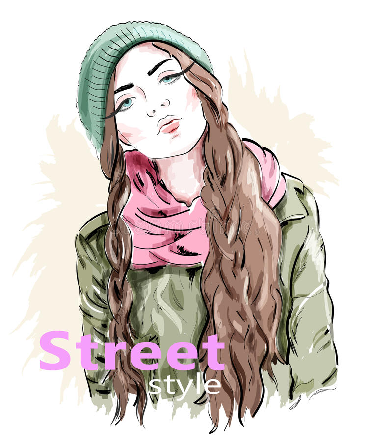 Fashion girl wearing modern knit cap and jacket. Street style clothes. Sketch. Fashion girl wearing modern knit cap and jacket. Street style clothes. Sketch royalty free illustration