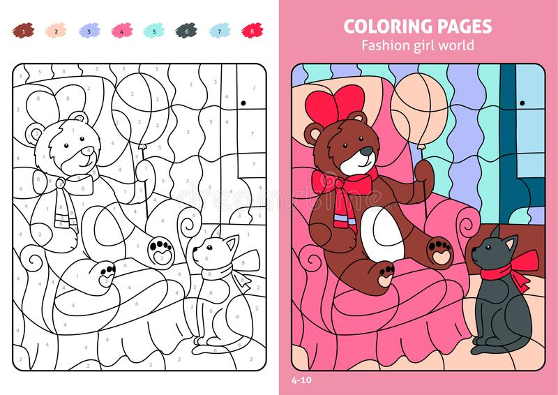 Fashion girl world coloring pages for kids, teddy. Printable design coloring book. Coloring puzzle with numbers of color. Black and white draw with color stock illustration