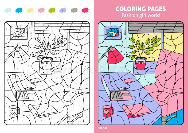Fashion girl world coloring pages for kids, workplace. Coloring puzzle with numbers of color. Black and white draw with color example. Coloring book. Color stock illustration