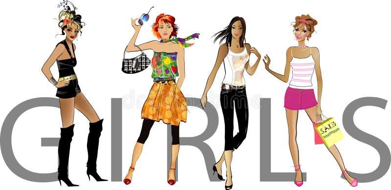 Download Fashion  girls stock illustration. Image of girl, faddish - 11246192