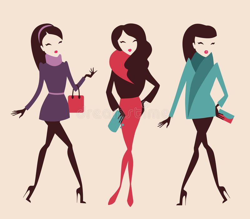 Fashion girls. Collection of fashion girls posing isolated on light background stock illustration