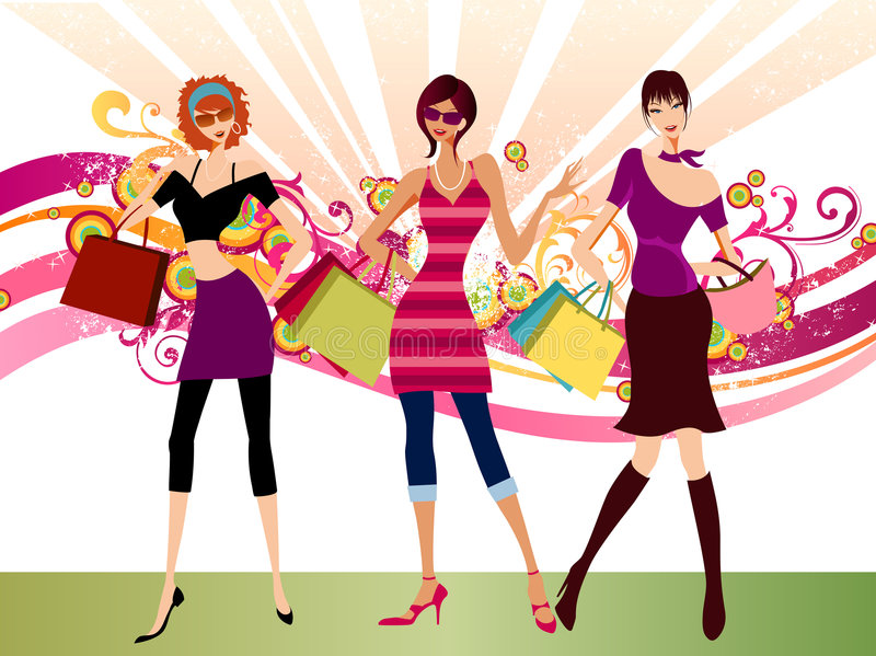 Fashion girls royalty free illustration