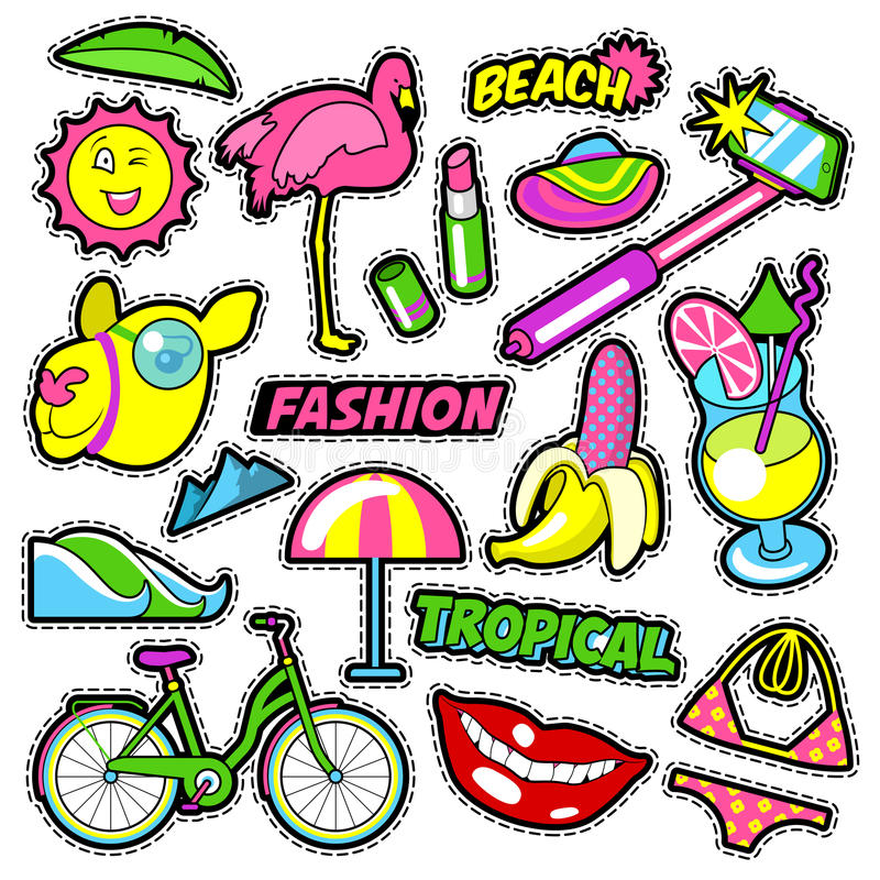 Fashion Girls Badges, Patches, Stickers - Bicycle Banana Flamingo Lipstick in Comic Style stock illustration