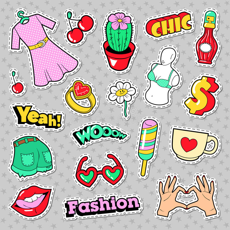 Fashion Girls Badges, Patches, Stickers with Clothes, Accessories, Lips and Hands vector illustration