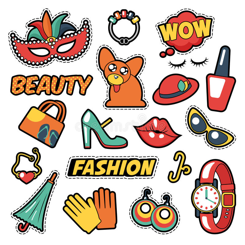 Fashion Girls Badges, Patches, Stickers - Comic Bubble, Dog, Lips and Clothes in Pop Art Comic Style. Vector illustration vector illustration