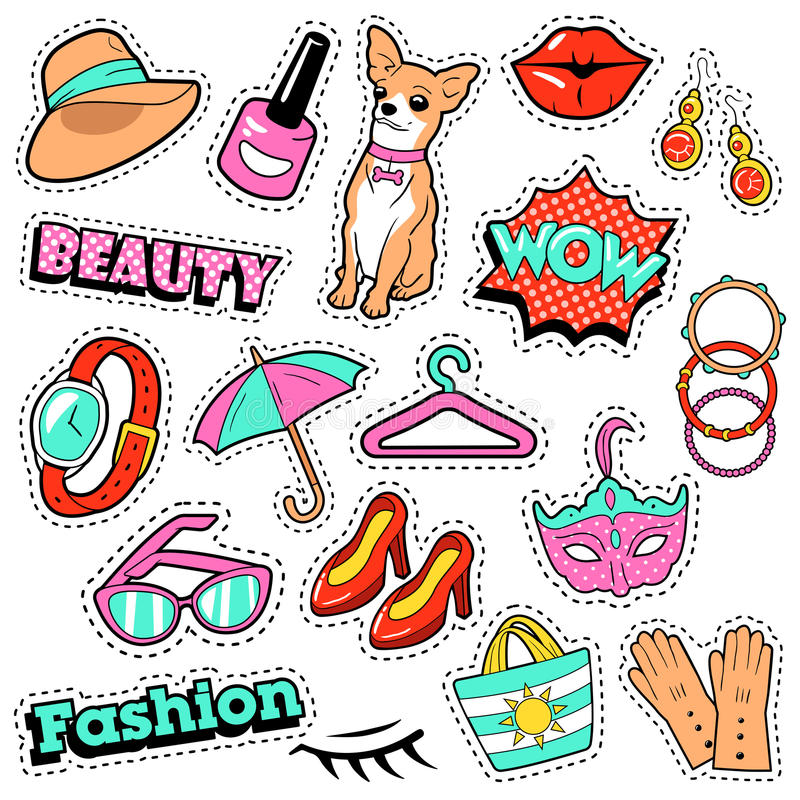 Fashion Girls Badges, Patches, Stickers - Comic Bubble, Dog, Lips and Clothes in Pop Art Comic Style. Vector illustration stock illustration