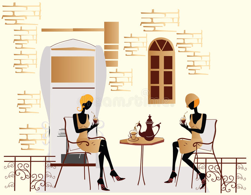 Fashion girls in the cafe chatting vector illustration