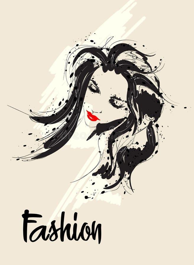 Fashion girls face. Woman face. Hand-drawn fashion model vector illustration