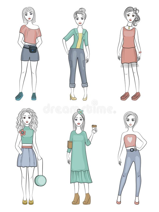 Fashion girls. Female young models standing posing with fashionable wardrobe items vector characters illustrations royalty free illustration