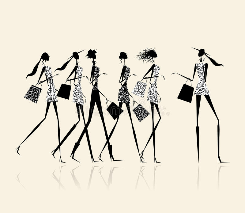 Fashion girls with shopping bags, illustration vector illustration