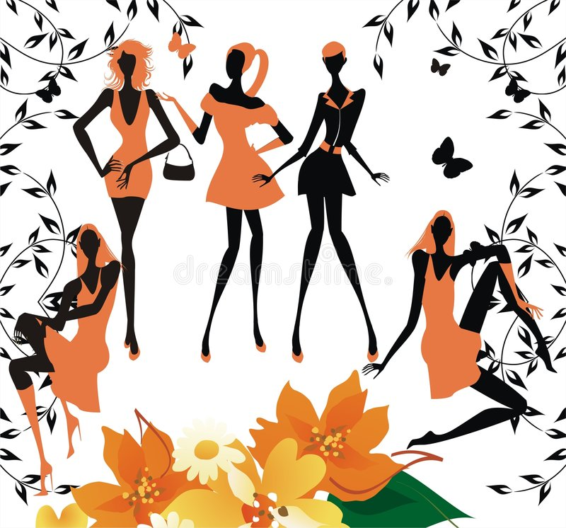 Fashion Girls Silhouettes Stock Photo