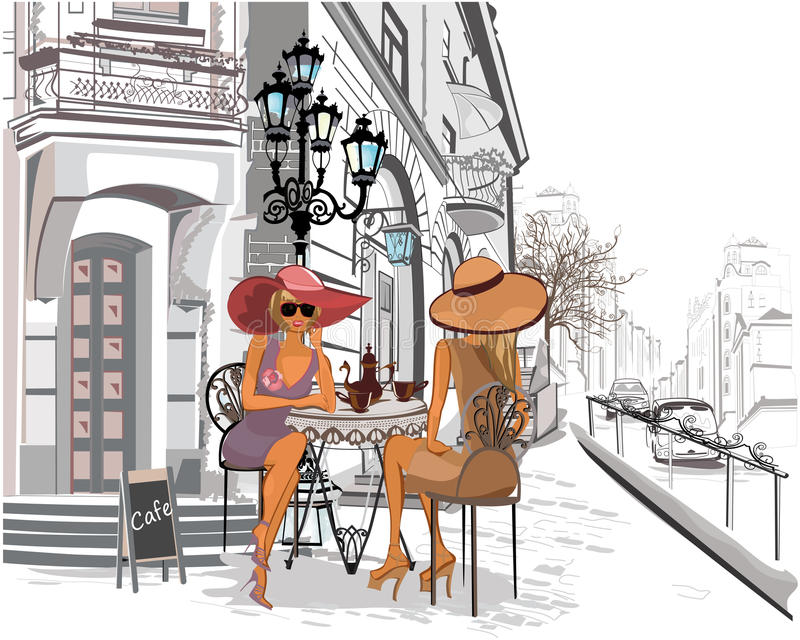 Fashion girls in the street cafe. royalty free illustration