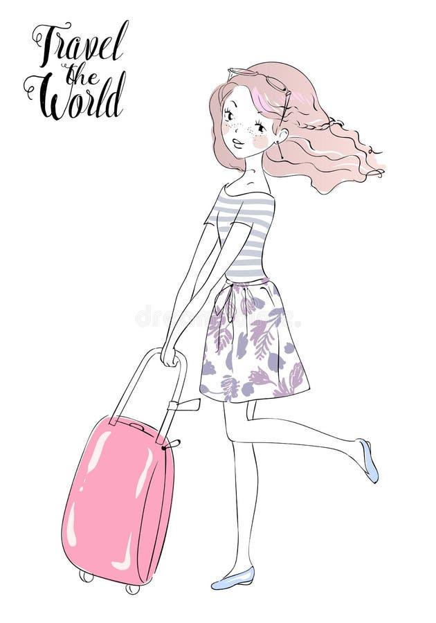 Fashion Girls travels the world royalty free illustration