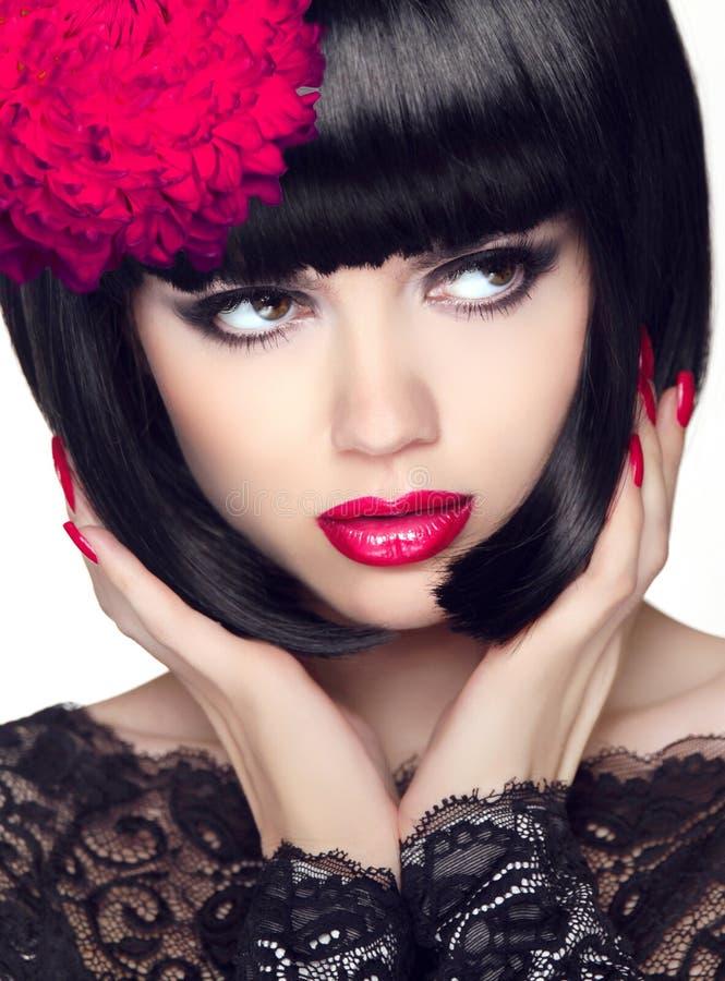 hair short glamour makeup beauty bob closeup young woman brunette portrait hairstyle royalty