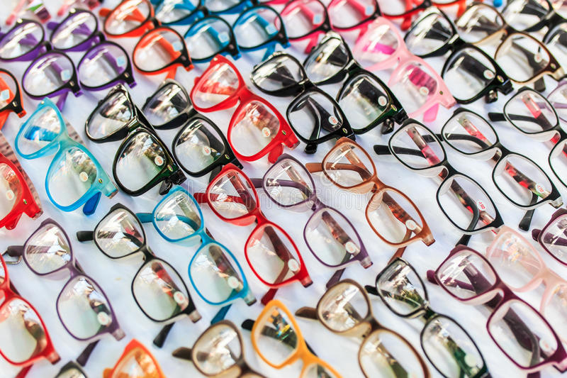 Fashion glasses. With completed lens or able to be changed the lens follow eyesight stock photography
