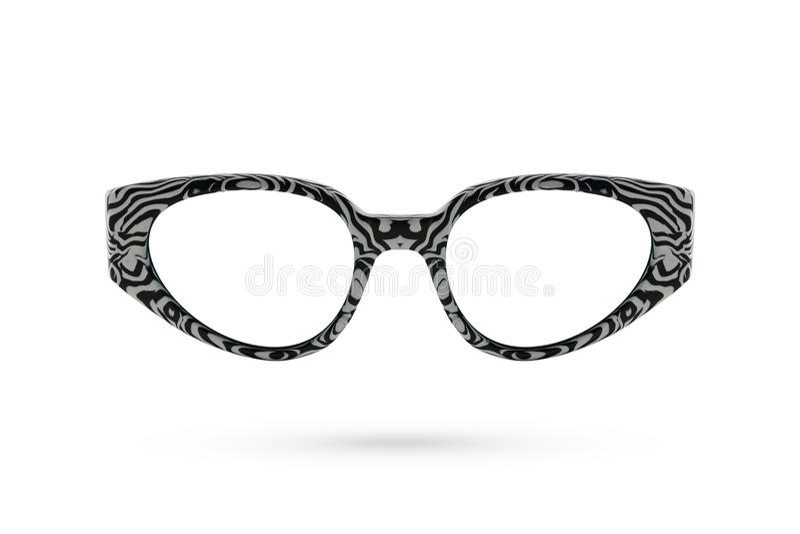 Fashion glasses zebra style plastic-framed on white bac royalty free stock images