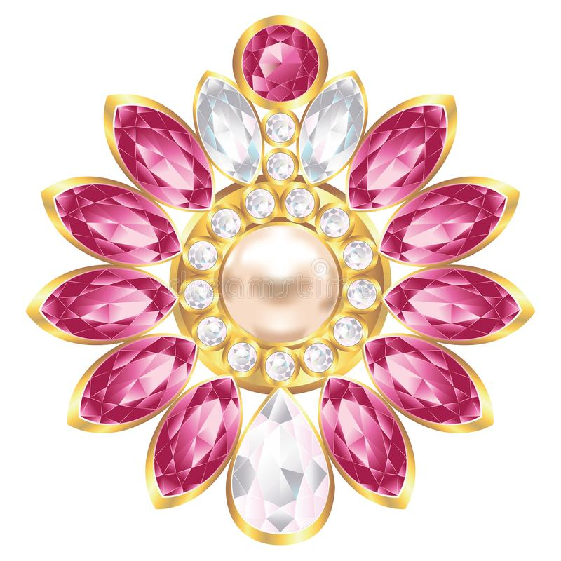Brooch with pearl and ruby. Fashion golden brooch design with pearl and ruby gems vector illustration