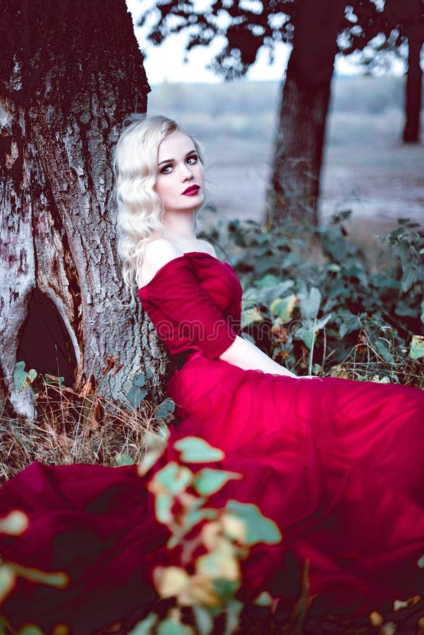 Fashion gorgeous young blonde woman in beautiful red dress in a fairy-tale forest. magic atmosphere. Retouched toning shot stock photo