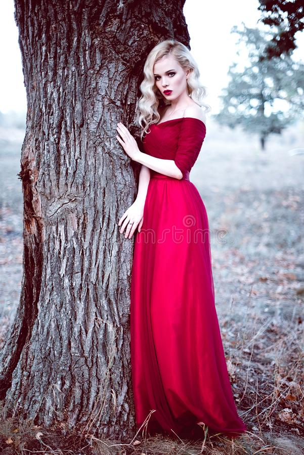 Fashion gorgeous young blonde woman in beautiful red dress in a fairy-tale forest. magic atmosphere. Retouched toning shot stock images