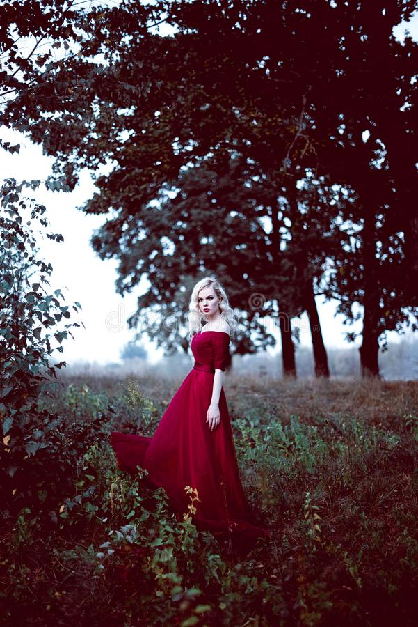 Fashion gorgeous young blonde woman in beautiful red dress in a fairy-tale forest. magic atmosphere. Retouched toning shot stock photos