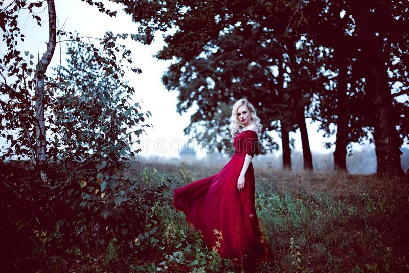 Fashion gorgeous young blonde woman in beautiful red dress in a fairy-tale forest. magic atmosphere. Retouched toning shot royalty free stock images