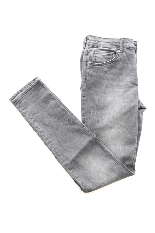 Fashion gray jeans for clothing. Isolated on white background royalty free stock photo
