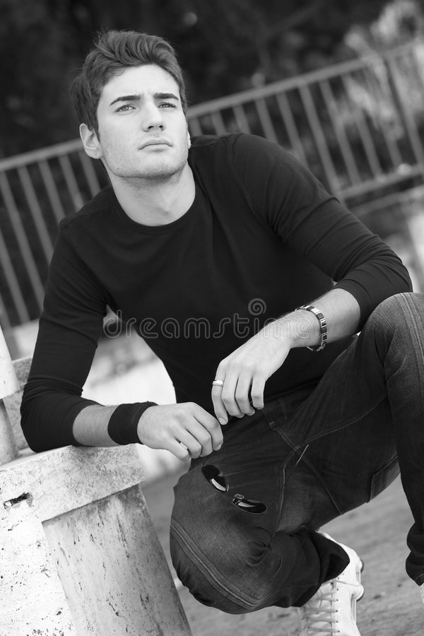 Fashion Guy Cool Model Outdoor Royalty Free Stock Photo