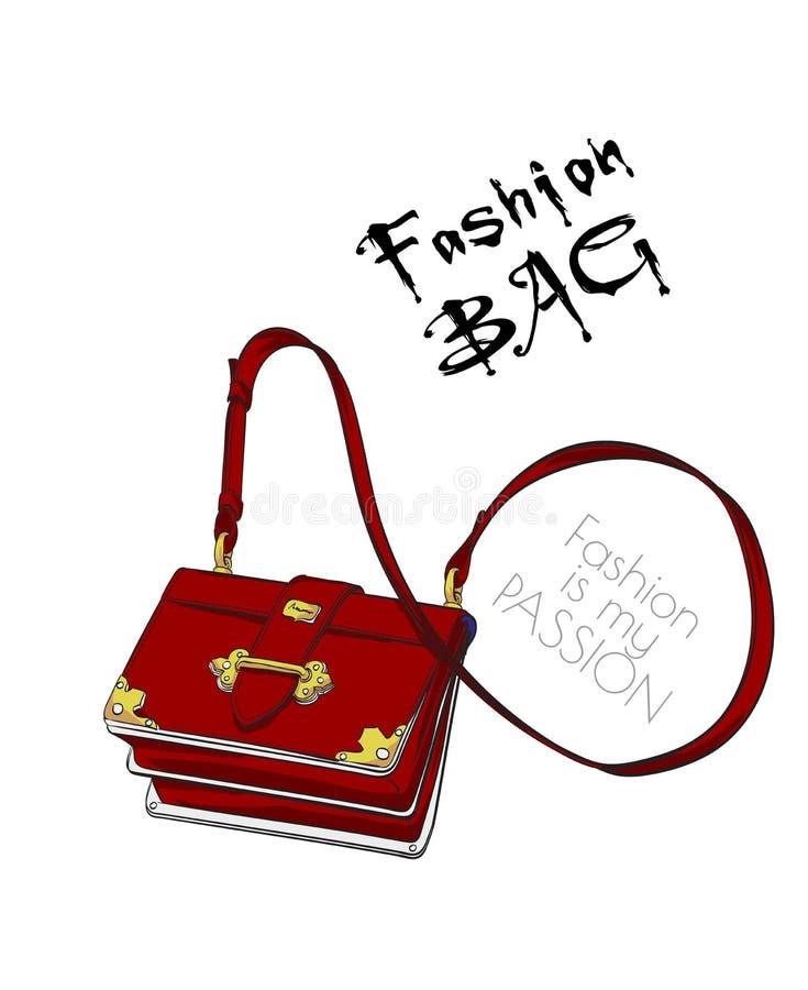 Fashion hänger lös Modetillbehör handväska stock illustrationer