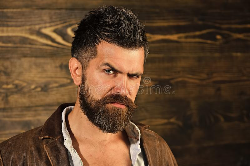Fashion hair. Barber. Fashion and male beauty of graying man. Fashion and beauty of serious man, copy space.  stock photo