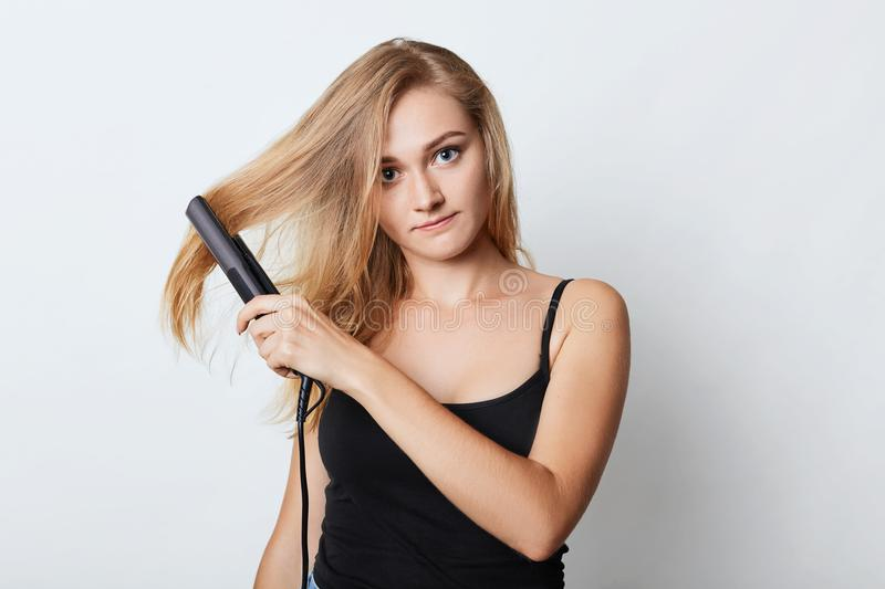 Fashion hairstyle concept. Beauiful female with long hair, straightens it with hair iron. Woman after taking shower does hairstyle. As going on work, isolated royalty free stock photography